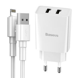 Baseus 10.5W Speed Mini Dual USB Type-A Wall Charger + Lightning Cable