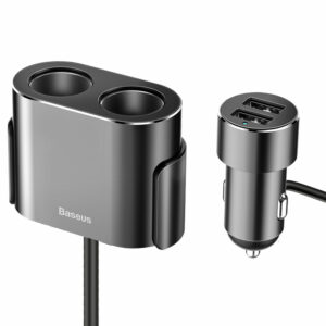 Baseus 2in1 Dual 12-24V Cigarette Lighter + 2x USB TypeA 3.1A Car Charger