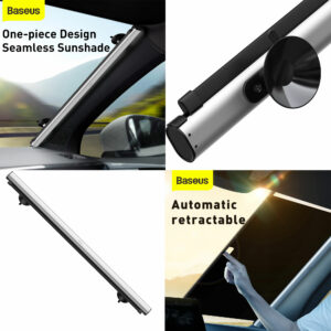 Baseus Seamless Retractable Double Layer Front Window Sunshade - Silver