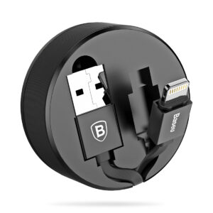 Baseus 0.9m - 2A New Retractable USB Type-A 2.0 to Lightning Cable - Black